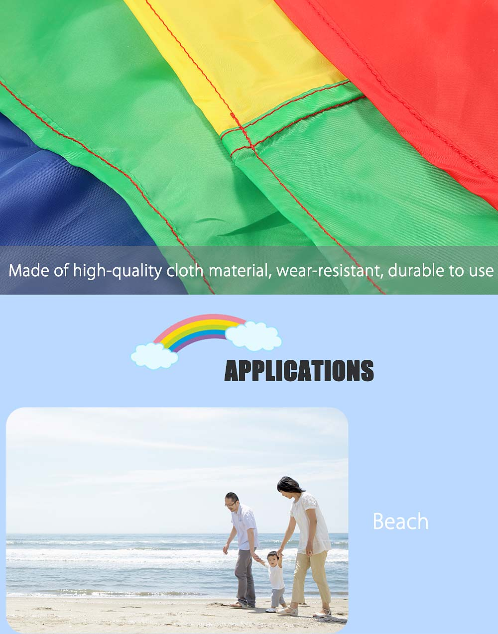 Colorful Children Rainbow Umbrella Parachute Toy Outdoor Sports Game