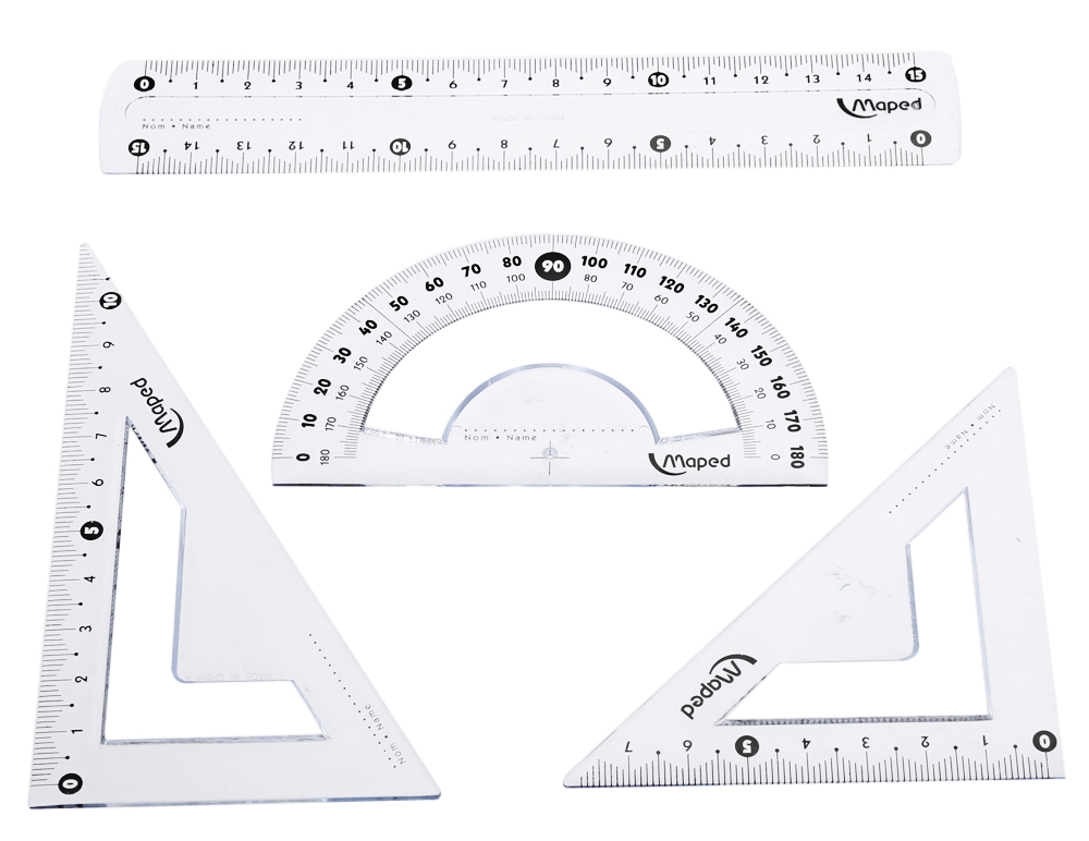 Maped Ruler / Triangular Plate / Protractor Tool