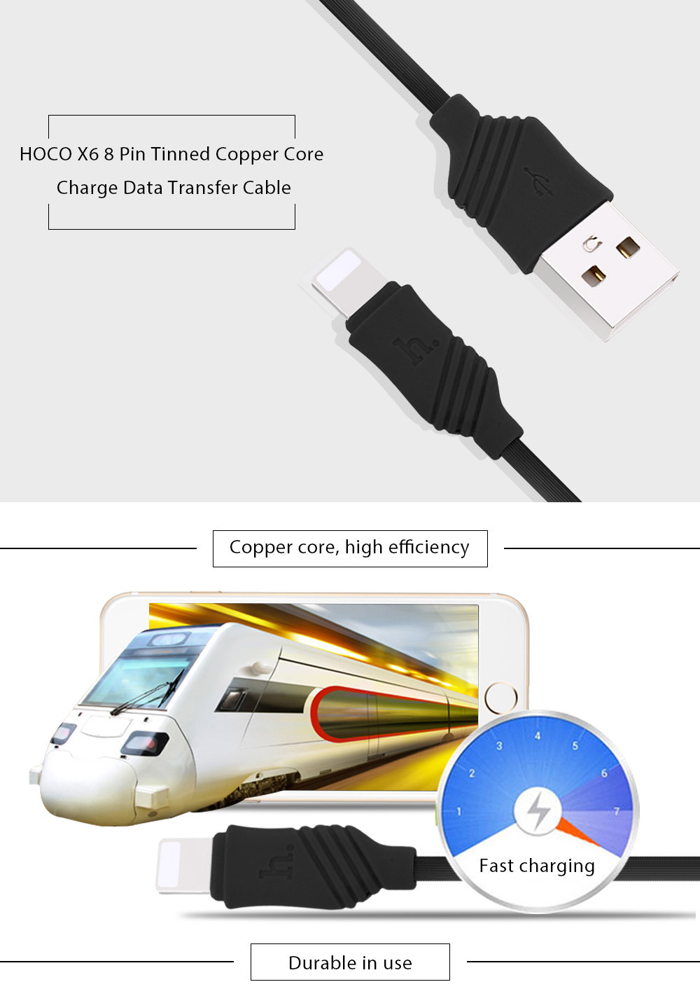 HOCO X6 5V 2.4A 8 Pin Tinned Copper Core Charge Data Transfer Cable 1M