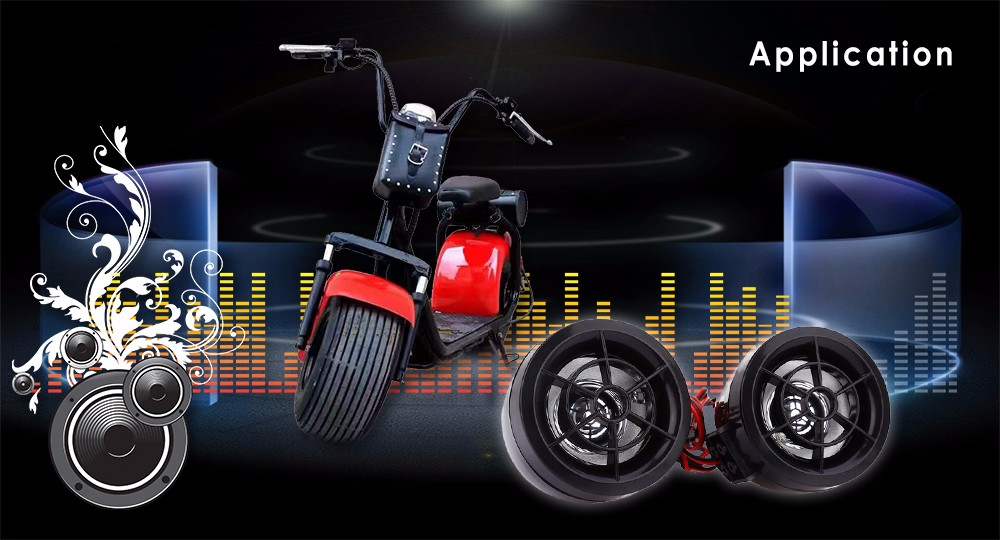 Motorcycle Audio System MP3 Speaker Amplifier Remote Alarm Anti-theft Flash Light FM Radio