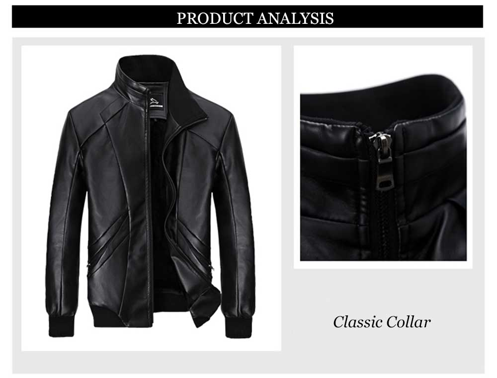 Fashionable Stand Collar Zipper Design Warm Slim Fit Leather Coat for Men