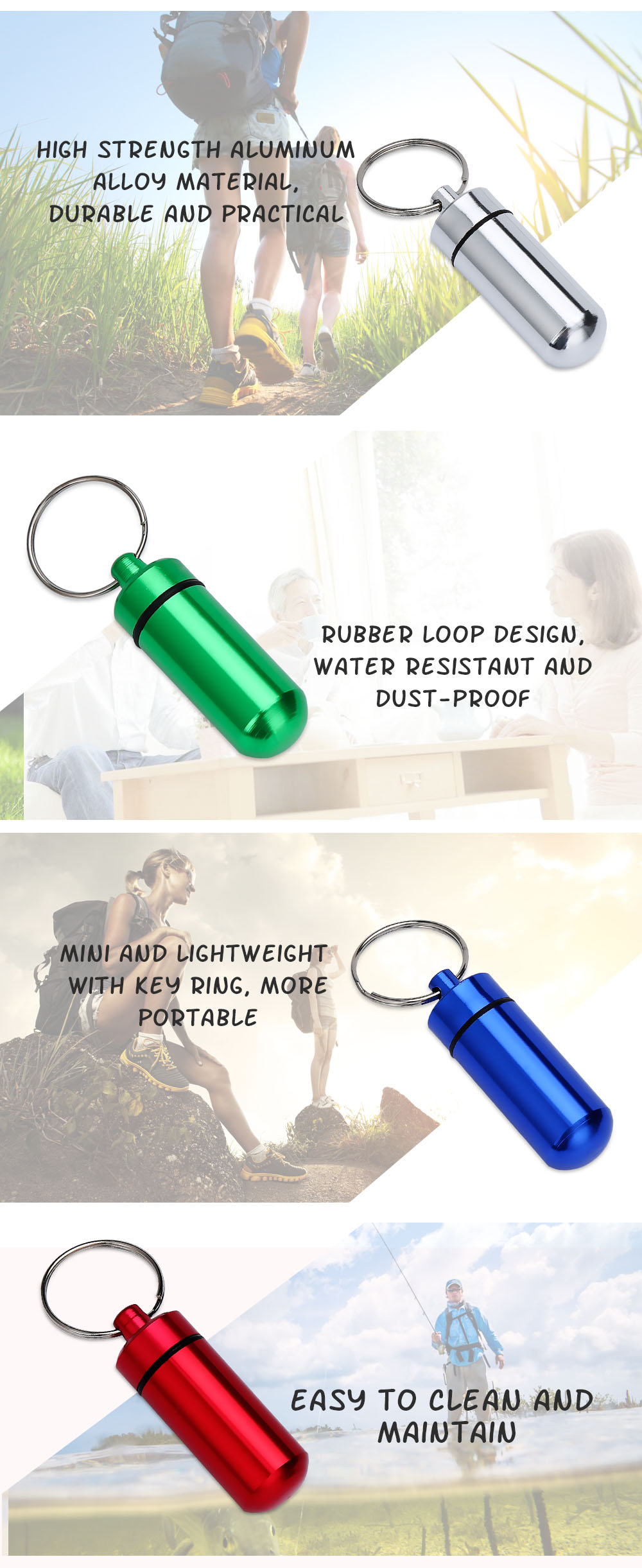 Aotu AT7605 Outdoor Emergency Portable Aluminum Alloy Medicine Pot Bottle with Key Ring