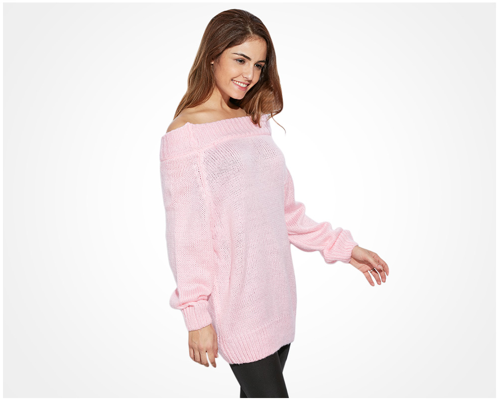 Sweet Off The Shoulder Pure Color Women Pullover