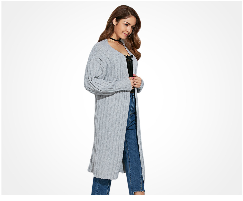 Simple Collarless Rib Knitted Pure Color Women Cardigan