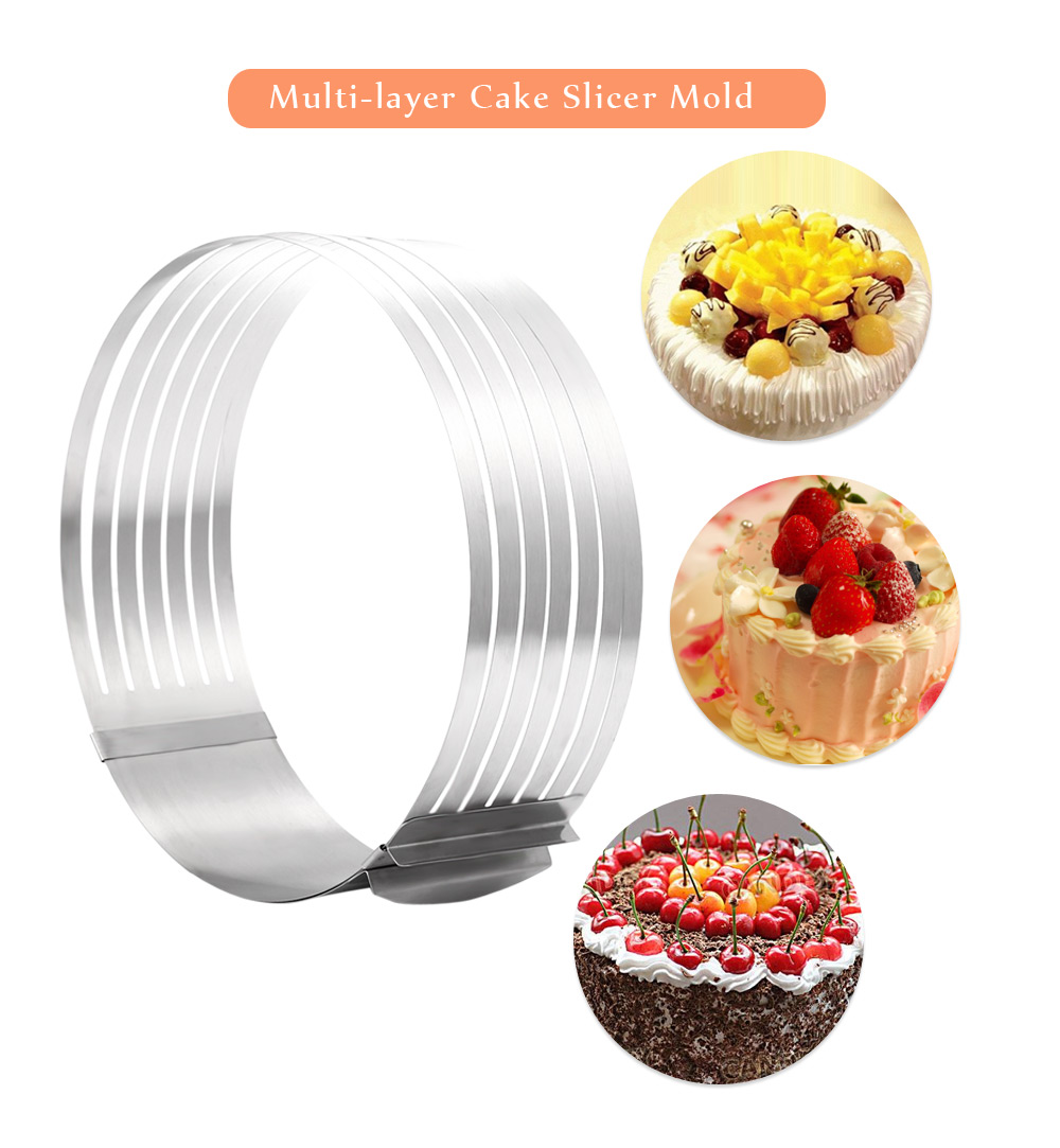 Retractable Stainless Steel Circle Mousse Cake Layer Cut Tools