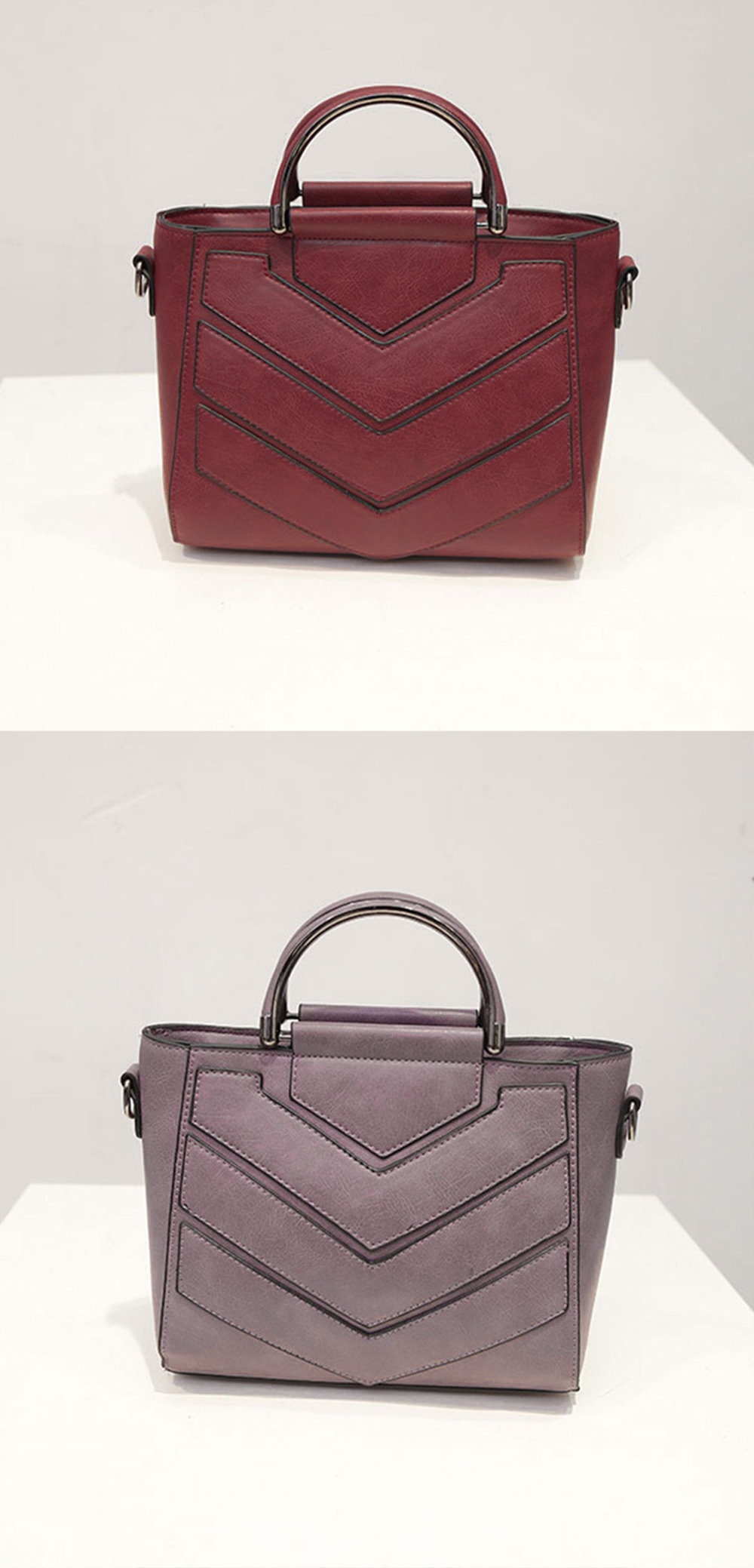 Fashionable PU Leather Zipper Type Pure Color Women Bag