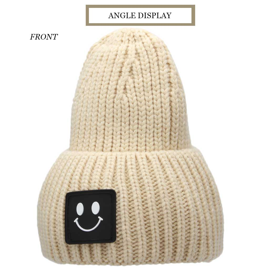 Casual Smile Face Design Pure Color Knitted Hat for Unisex