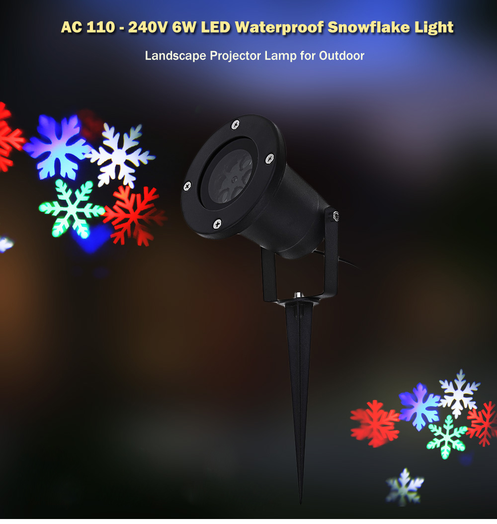 AC 110 - 240V 6W LED Waterproof Snowflake Light Landscape Projector Lamp for Outdoor