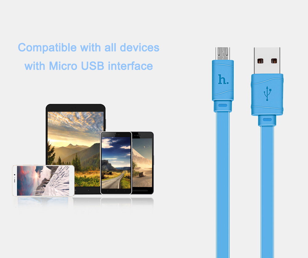 HOCO X5 5V 2.4A Micro USB Anti-twist Noodle Charge Data Transfer Cable 1M