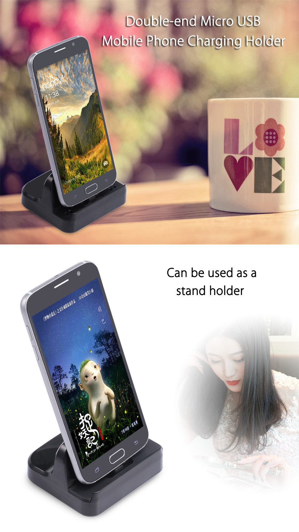 UCD - UAD Two-sided Micro USB Mobile Phone Charging Holder