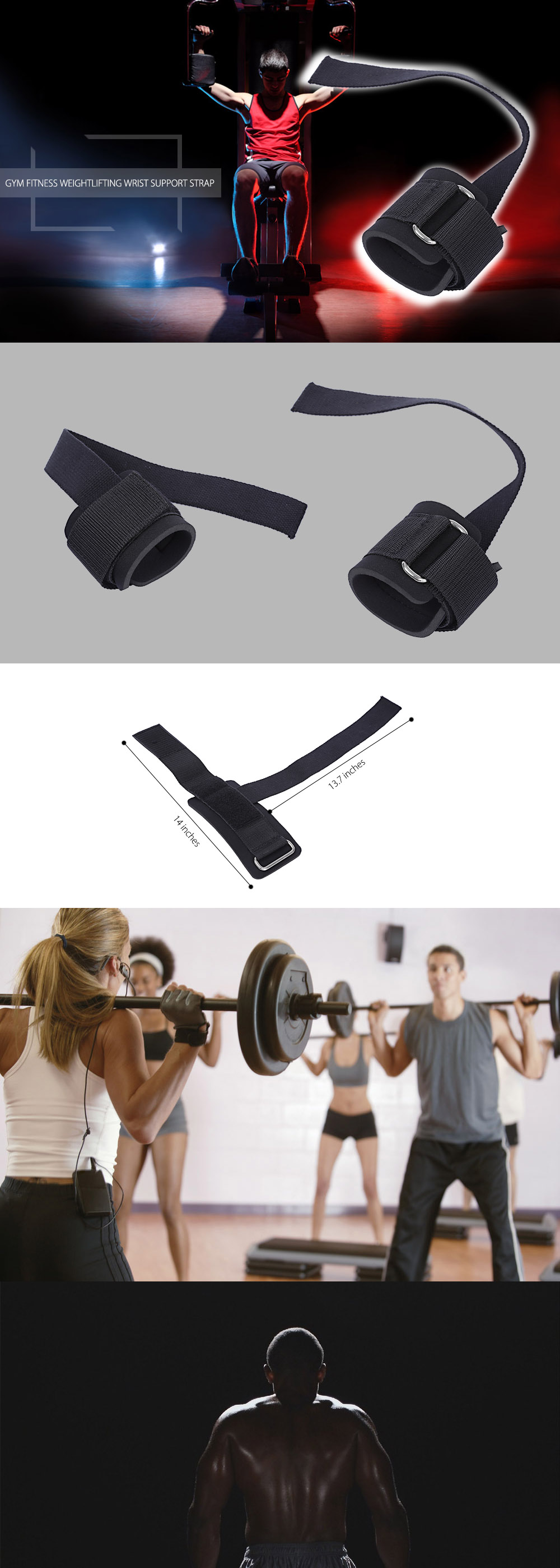 Gym Fitness Weightlifting Adjustable Non-slip Wrist Strap Protective Device