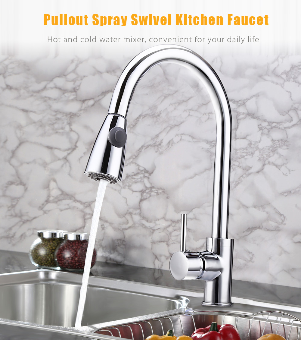 Deck Mounted Pullout Spray Single Handle Swivel Kitchen Faucet