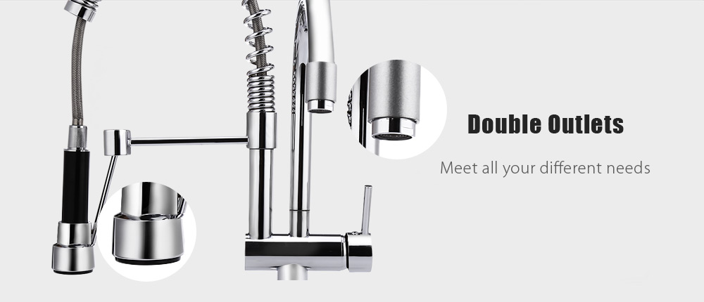Deck Mounted Double Swivel Pull-down Spray Kitchen Faucet Mixer Tap