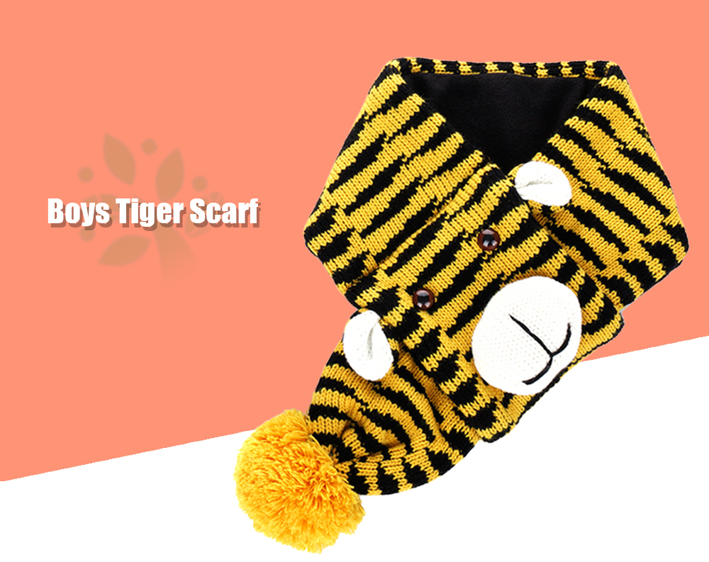 QULEXING Boys Cute Color Block Knitted Tiger Scarf