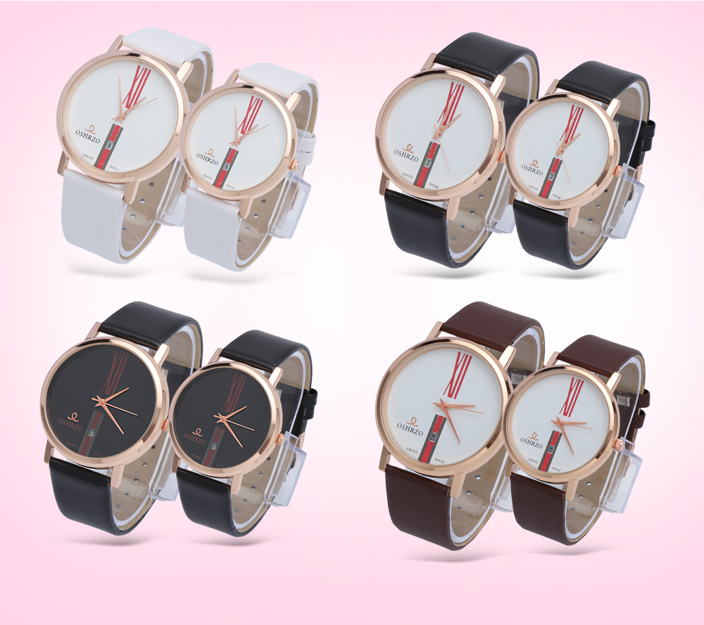 OSHRZO Couple Quartz Watch Date Display Concise Dial Leather Band Wristwatch