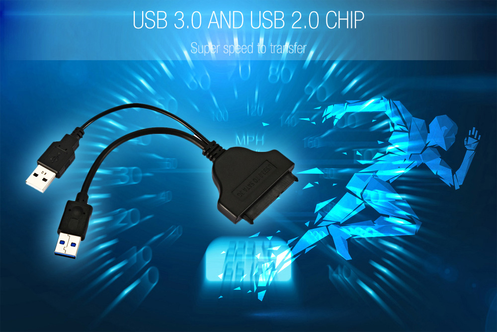 UL - Tunite USB 3.0 2.0 to SATA 22 Pin 2.5 inch Hard Disk Driver Adapter Cable Extender