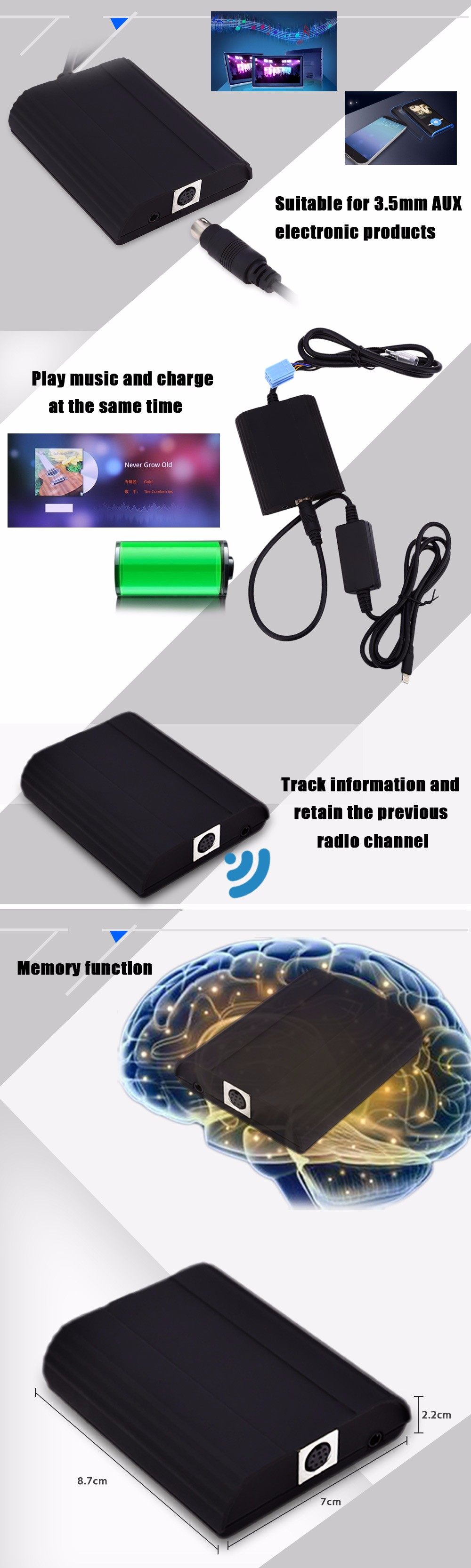 WT - IP5 Car Charger Adapter for Mazda Vehicle MP3 Player Digital CD Box