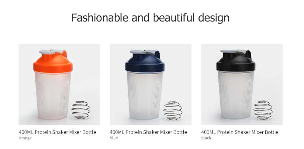 400ML Protein Blender Shaker Mixer Cup Drink Whisk Ball Bottle