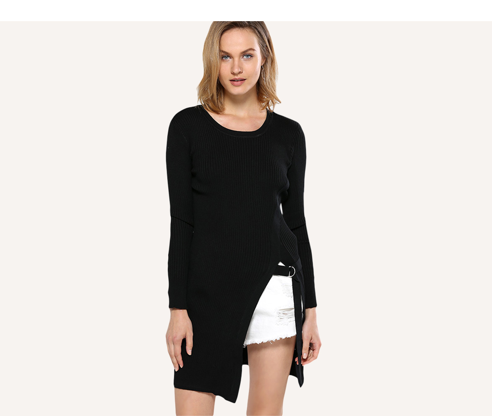 Trendy Round Collar Rib Knitted Women Slit Pullover