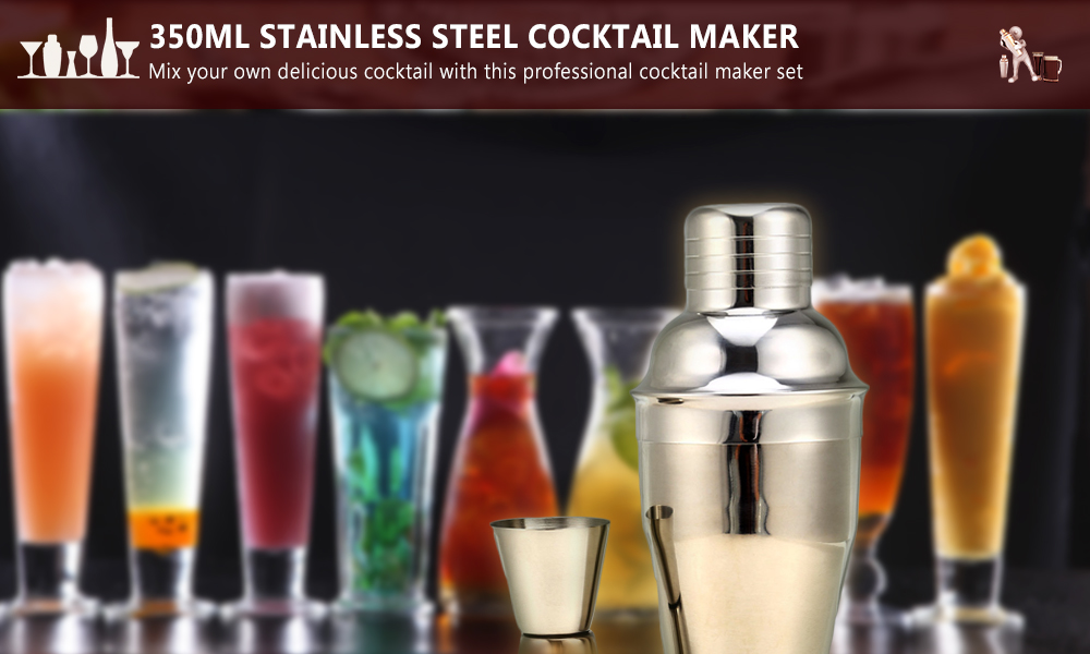 9pcs 350ml Stainless Steel Cocktail Maker Shaker Jigger Ice Strainer Clip Cheese Knife Bottle Opener Spoon with Wooden Base