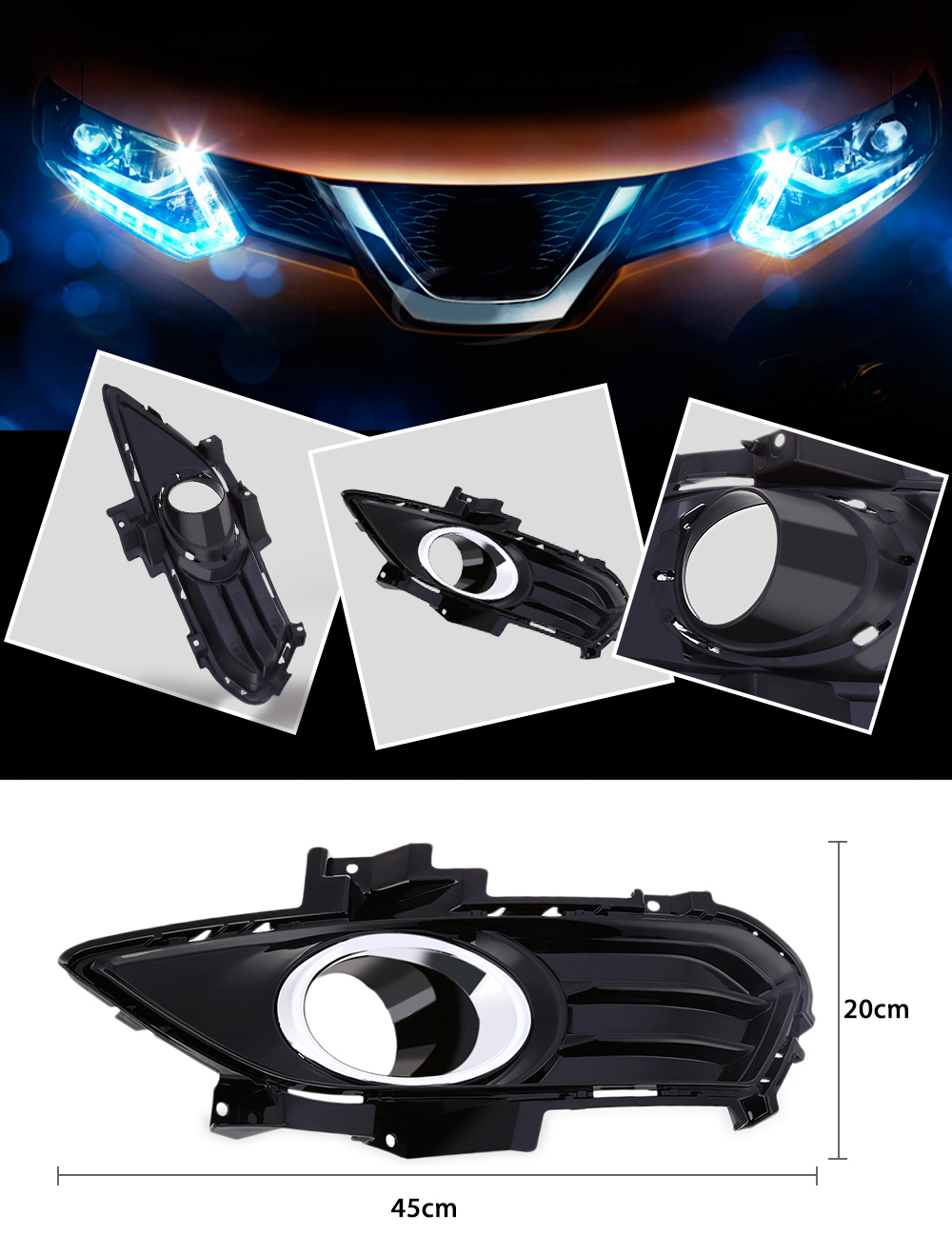 Car Automotive Fog Light Lamp Grill Cover Foglight Bezel Frame for Fort Mondeo