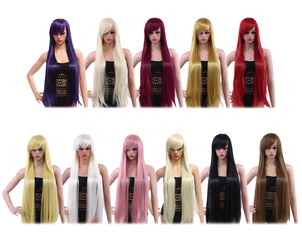 100CM Long Silky Straight Central Parting Synthetic Wigs with Bangs Colors Hair for Women