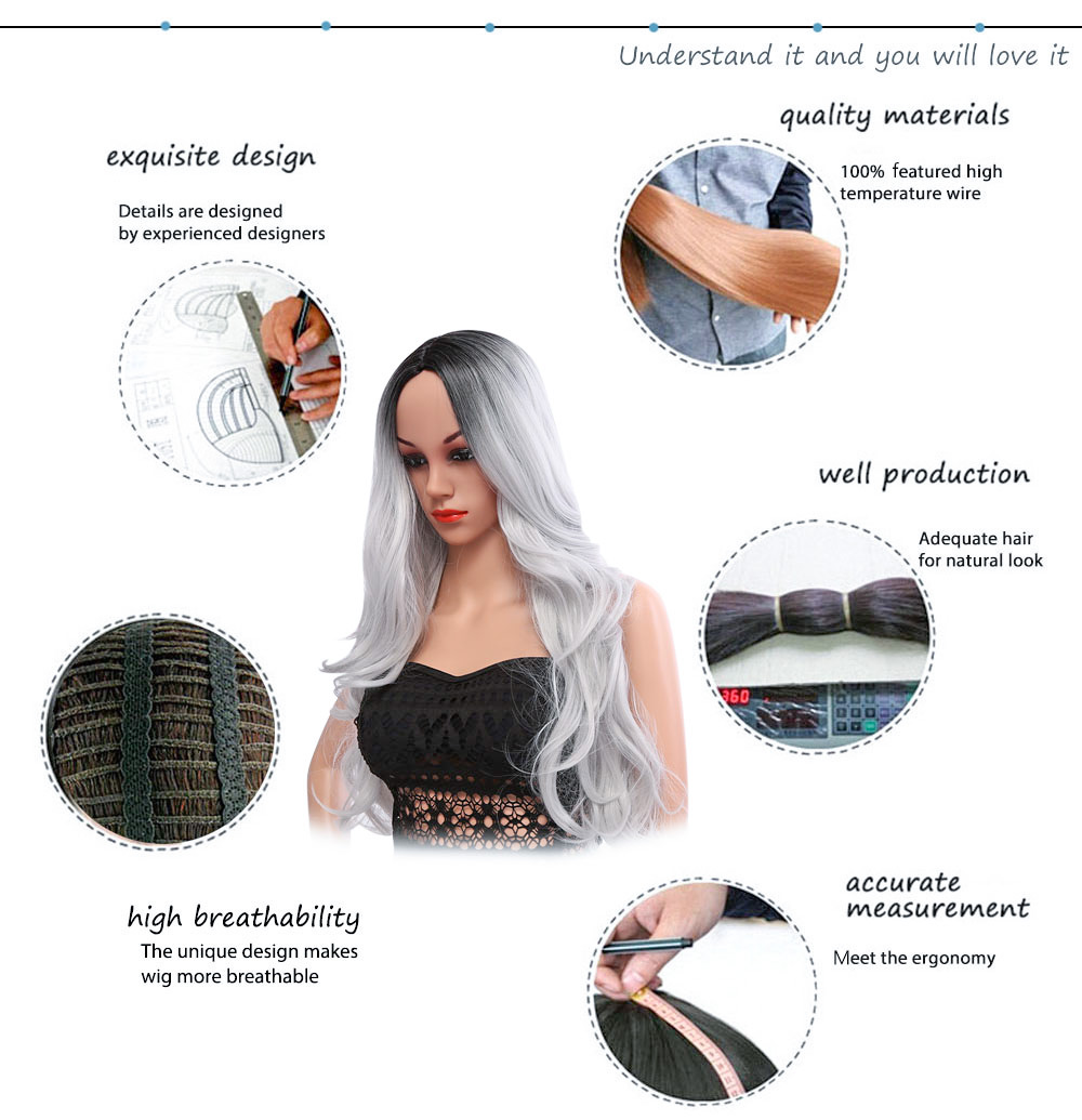 Ombre Long Black Mixed Grey Wigs Heat Resistant Synthetic Hair for Women