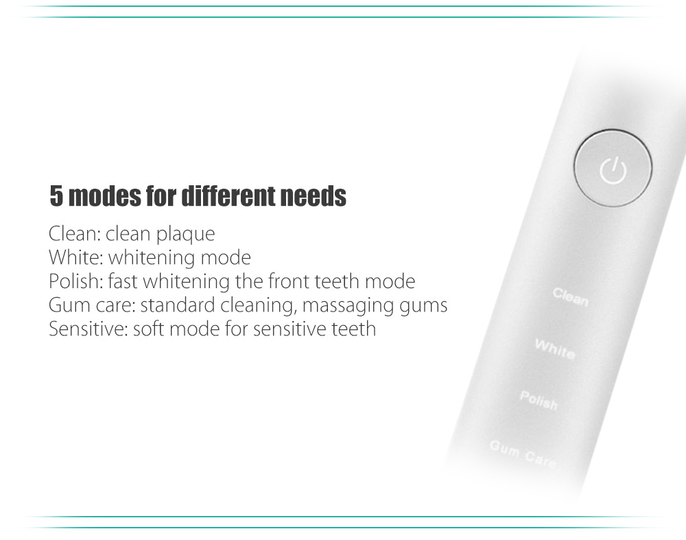 Wireless Smart Sonic Electric Toothbrush with 2 Thin Soft Head