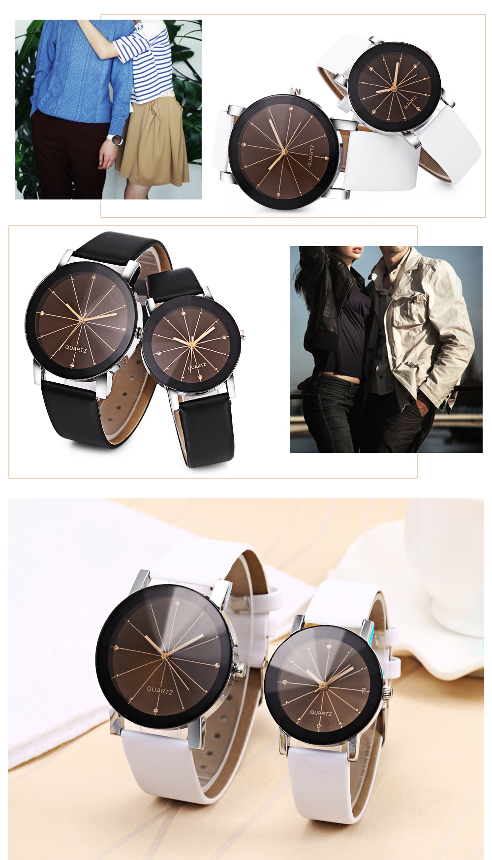 Fashion Couple Quartz Watch Solid Mirror Artificial Diamond Leather Band Wristwatch