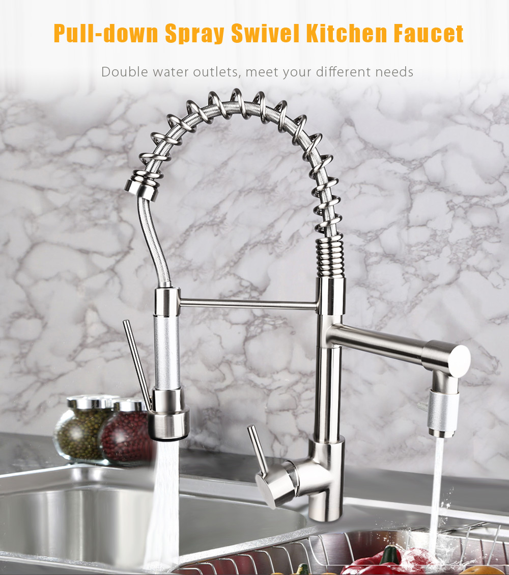 Brass Deck Mounted Pull-down Swivel Spray Kitchen Faucet Mixer Tap