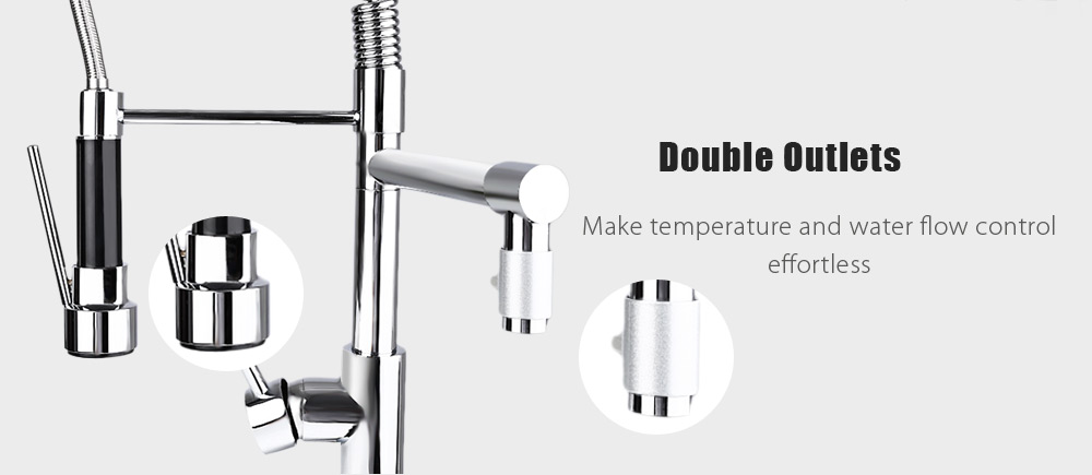 Deck Mounted Pull-down Swivel Spray Kitchen Faucet Mixer Tap