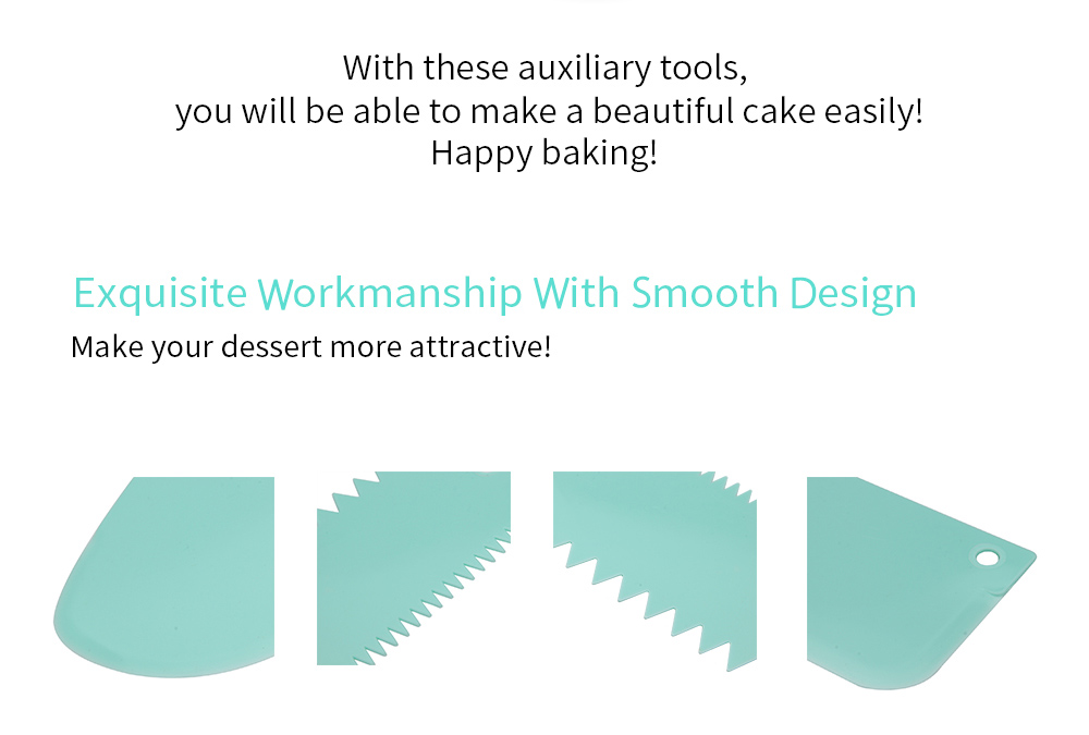 3 in 1 DIY Cake Fondant Smoother Scraper Baking Tools Dessert Molds