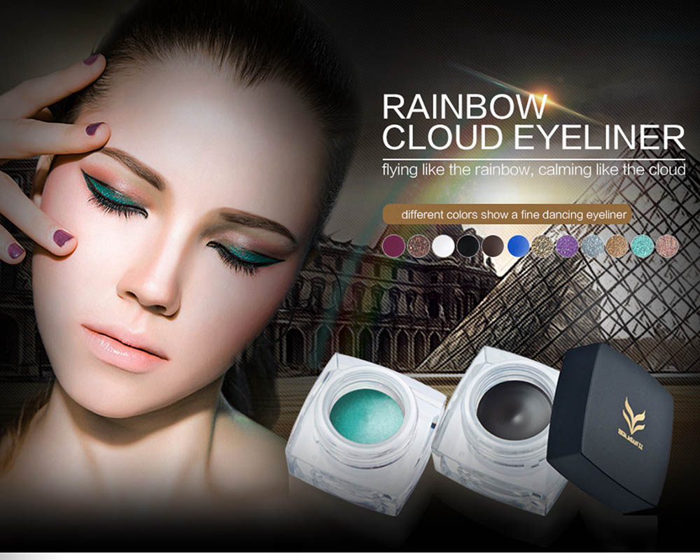 Huamianli Beauty Rainbow Matte Waterproof Eyeliner Cream Kit with 2 Brushes Glitter Colors