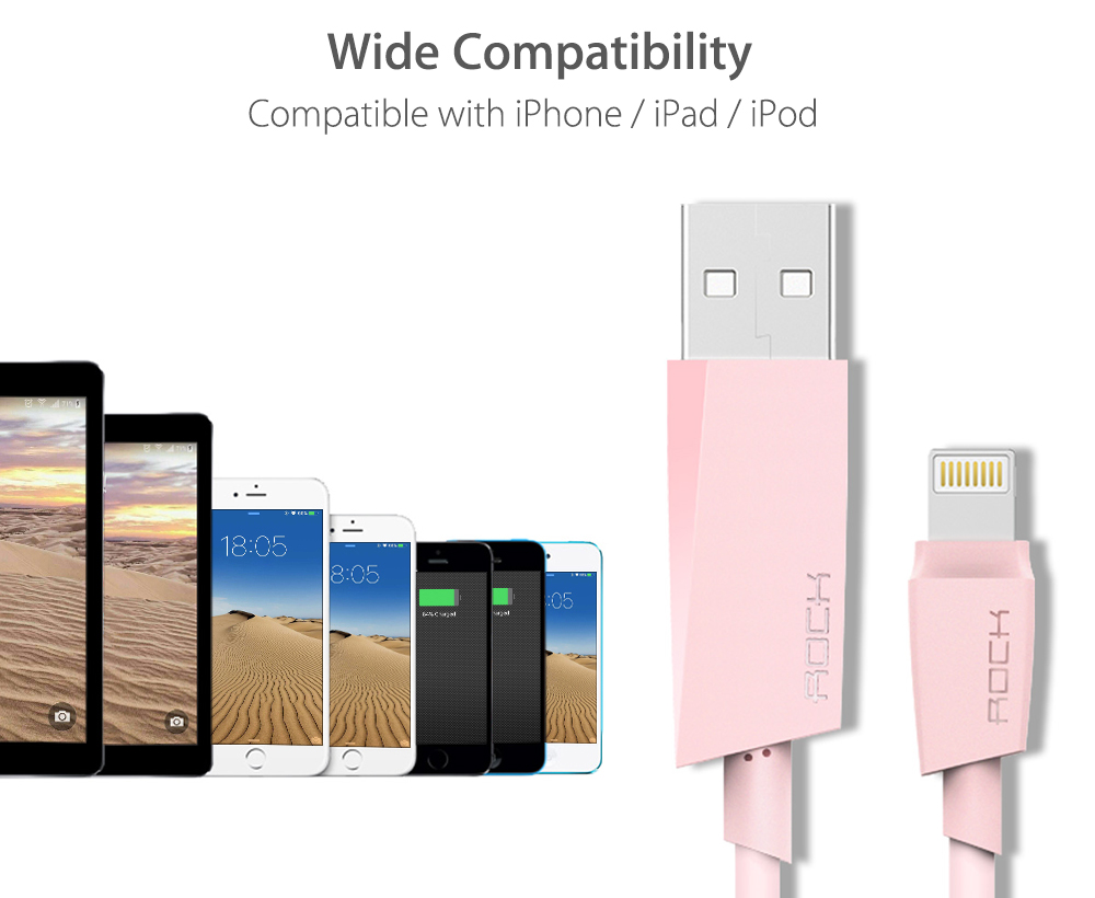 ROCK M3 MFi Certification Charging Data Transmission Round Cord for iPhone 1M