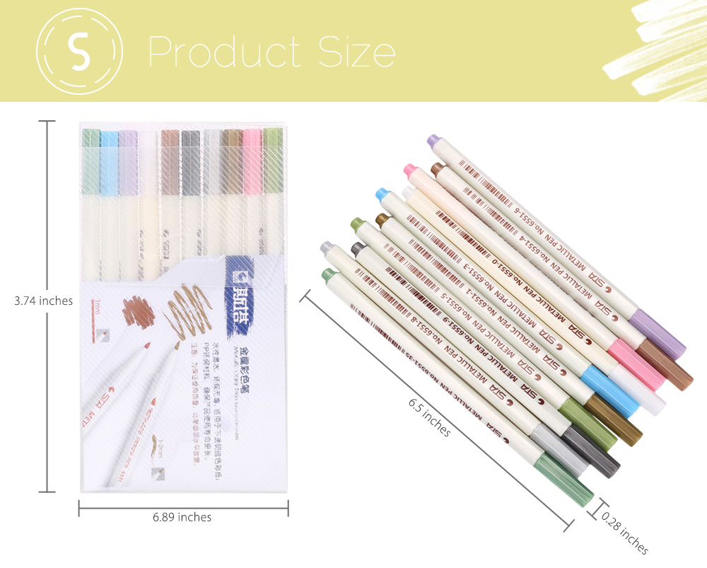 STA 10 Colors Metallic Pen Mark Painting Office Tackle
