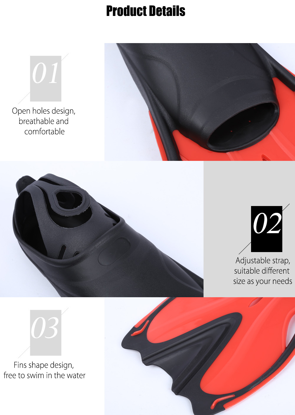 Paired Swimming Flippers Submersible Fins Snorkeling Shoes Diving Equipment
