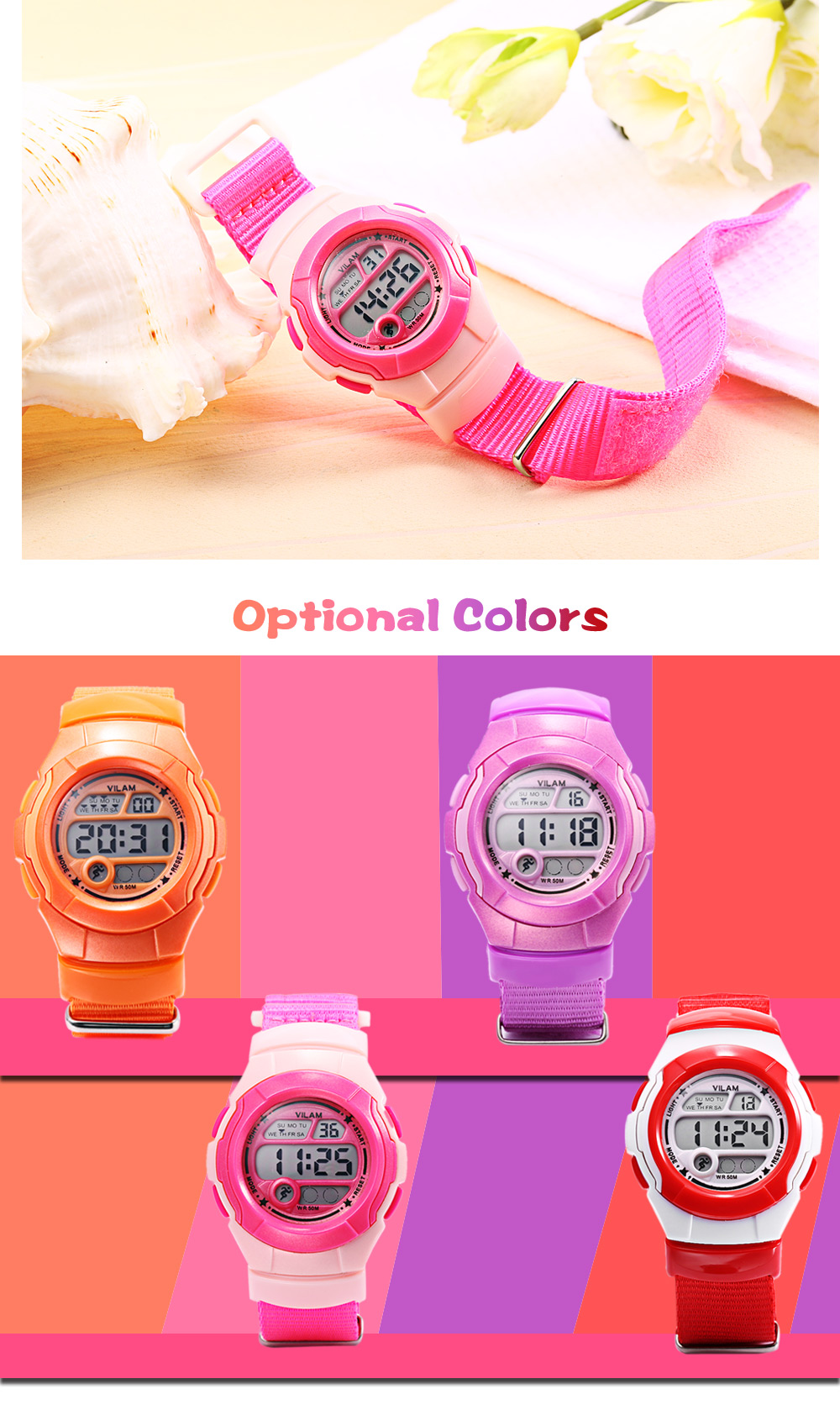 VILAM 0600 Digital Sports Watch Alarm Calendar Chronograph Display 50m Water Resistance Wristwatch
