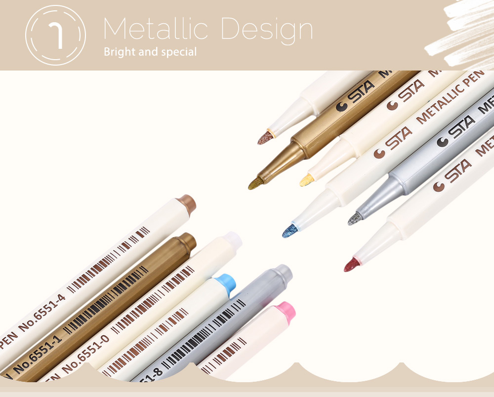 STA 6 Colors Metallic Pen Mark Painting Office Drawing Tackle