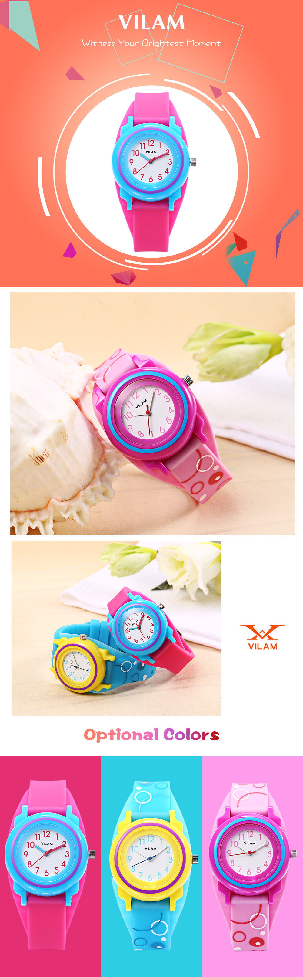 VILAM 11007 Children Quartz Watch Concise Dial Daily Water Resistance Silicone Band Wristwatch