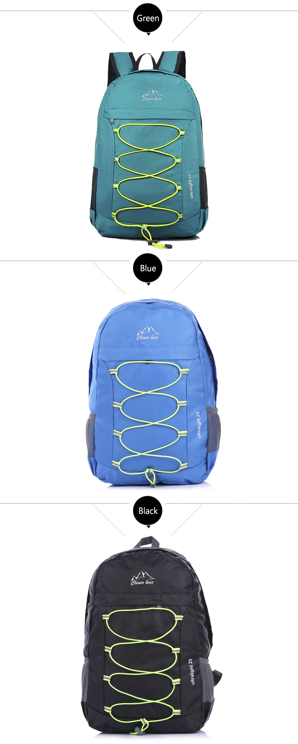 CLEVERBEES Outdoor Waterproof Foldable Hiking Running Backpack