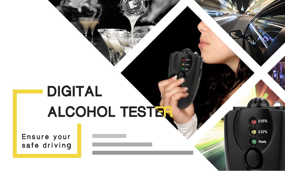 High Sensitive Digital Alcohol Tester 3-step Breath Analyzer Portable Detector LED Torch