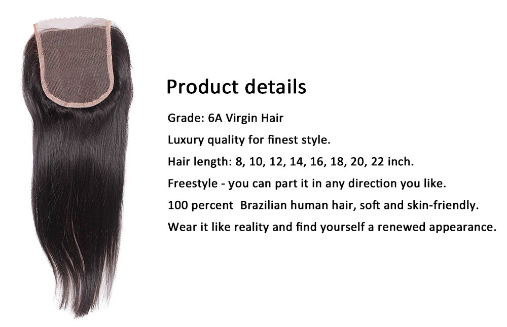Brazilian Straight Free Part 4 x 4 Lace Closure 6A Virgin Human Hair Bleached Knots
