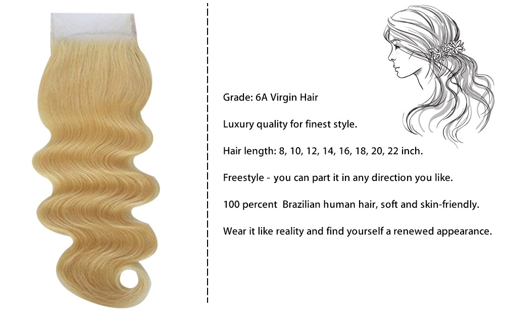 Brazilian Blonde 4 x 4 Body Wave Free Part Lace Closure 6A Virgin Hair Bleached Knots