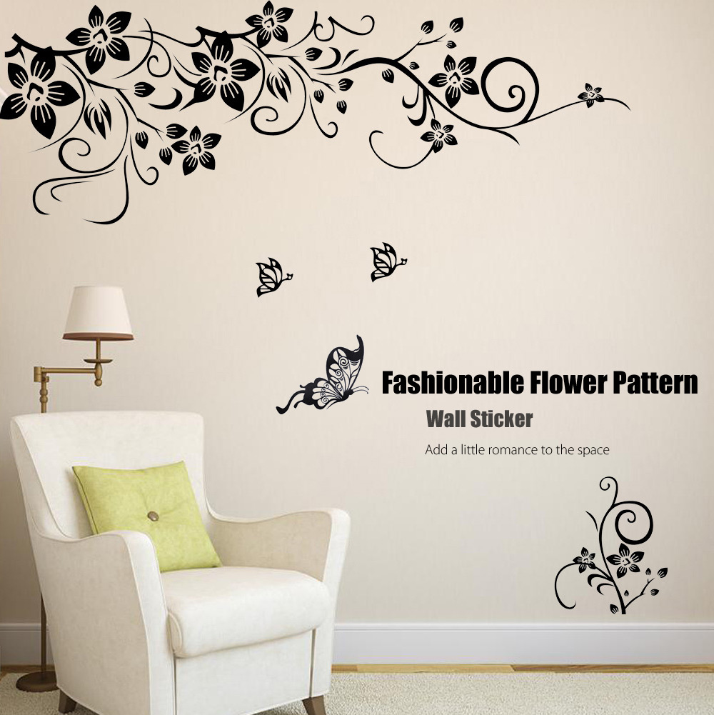 Fashionable Flower Pattern Removable Wall Window Decal Sticker Film Wallpaper Decor