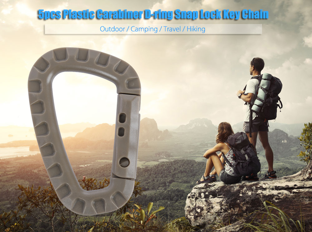 5pcs Outdoor Camping Travel Hiking Plastic Carabiner D-ring Snap Lock Key Chain Clip Hook