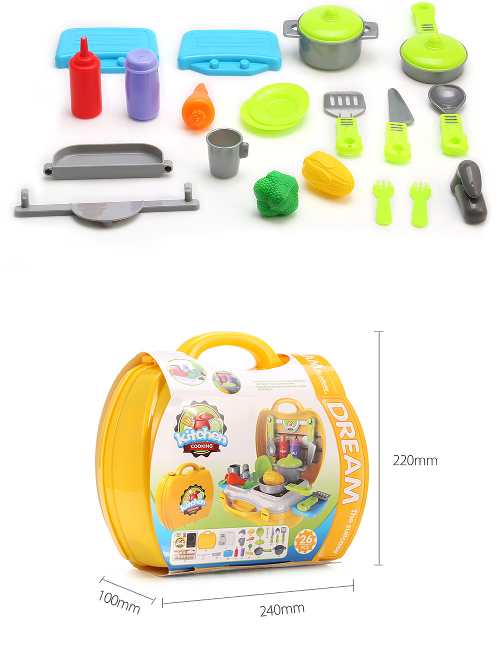 26pcs Children Mini Simulation Kitchen Cooking Tools Box Educational Pretend Play Toy