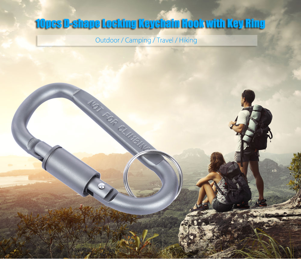 10pcs Outdoor D-shape Aluminum Alloy Locking Keychain Hook Lock Clip with Key Ring for Camping Hiking