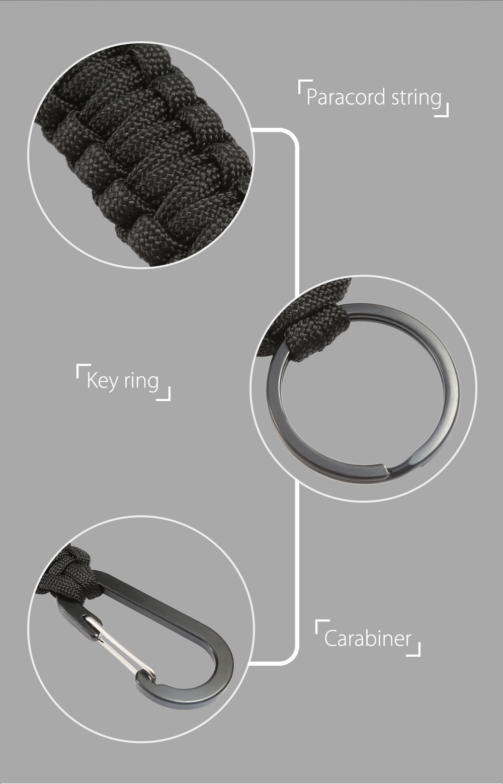 Multifunctional Knitted Emergency Survival Paracord Bracelet with Carabiner Key Ring