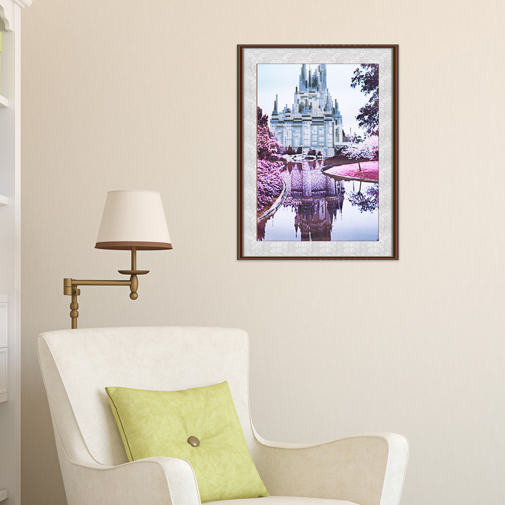 30 x 40cm 5D Dream Castle Building Drilled Needlework DIY Diamond Painting Cross Stitch Wall Sticker