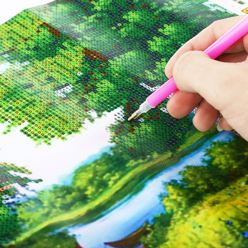 30 x 40cm 5D Green Woods Landscape Drilled Needlework DIY Diamond Painting Cross Stitch Wall Sticker